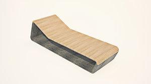 3d model lounge concrete wood