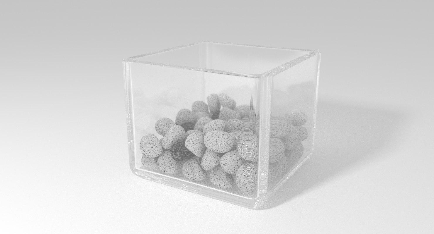glass pot stones 3d blend