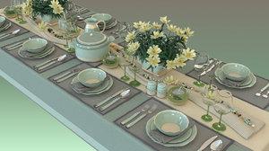 dinner table set 3d model
