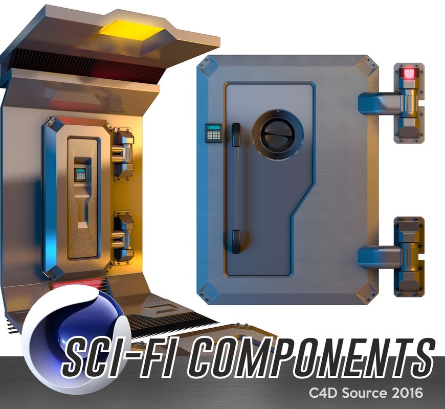 3d model sci-fi components