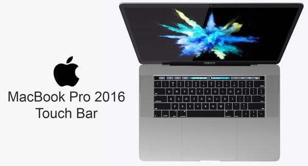 3d model macbook pro touch bar