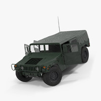 Soft top Military Car HMMWV m1035 Rigged Green