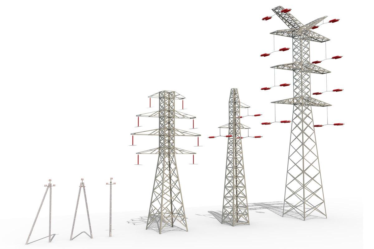 power lines set 3d model