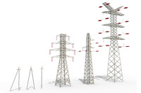 power lines set 3d model