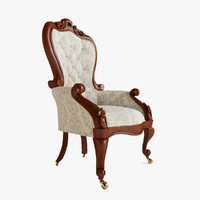 antique victorian carved armchair 3d max
