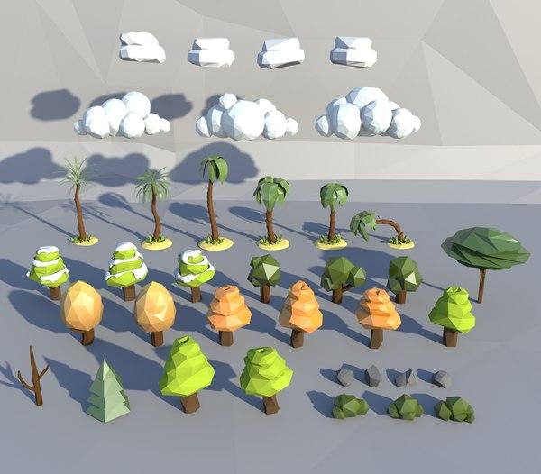 3d trees bushes model