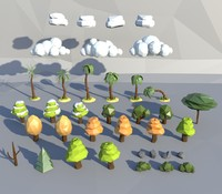 3d trees bushes model