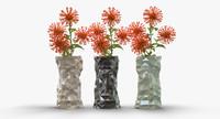 3d model modern vase crumpled
