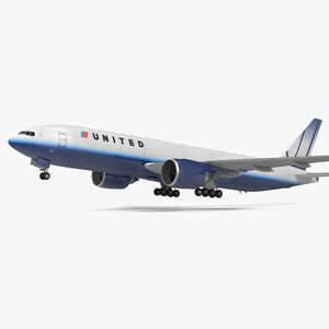 3d boeing 777 freighter united airlines model