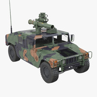 HMMWV TOW Missile Carrier M966 Camo 3D Model