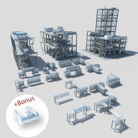 3d model factory buildings pipes