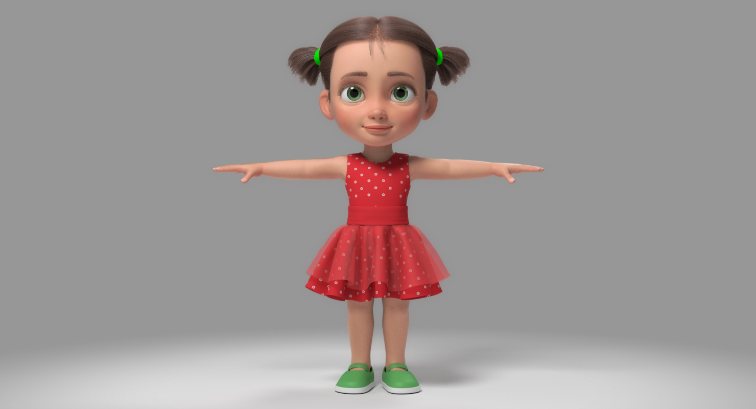 realistic child girl rigged for Maya 3d model