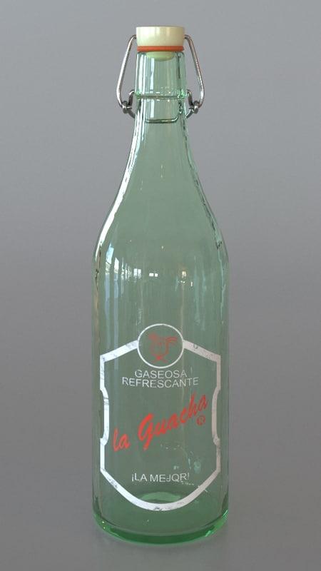 3d model vintage soda bottle