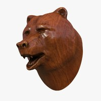 3d wooden bear head model