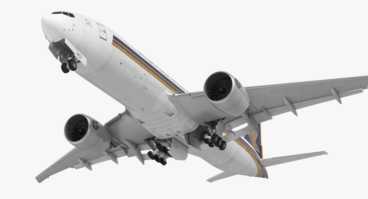 boeing 777 freighter singapore 3d model