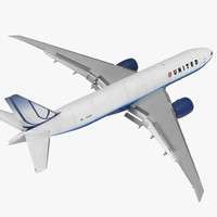 Boeing 777 Freighter United Airlines Rigged 3D Model