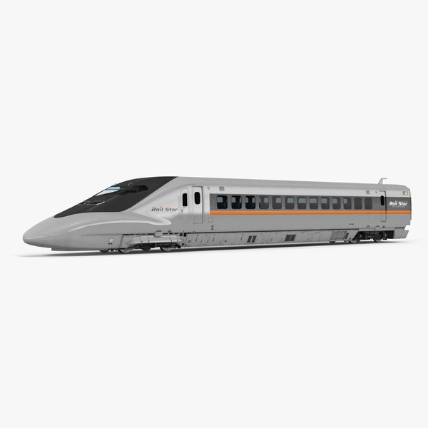 bullet train locomotive rail 3d model