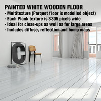 scandinavian painted white wooden floor 3d model