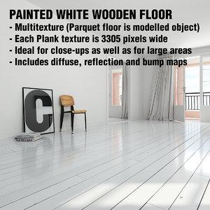 scandinavian painted white wooden floor 3d model
