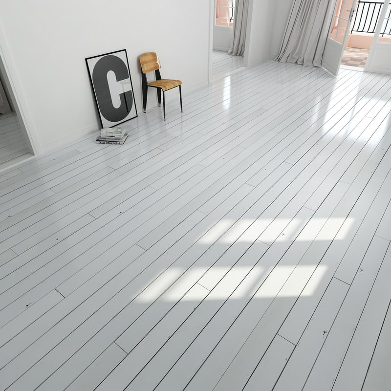 Painted White Wooden Floor