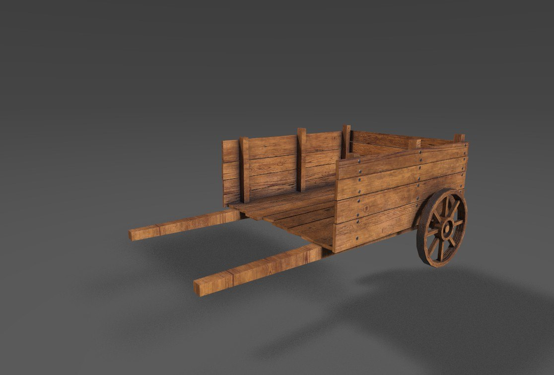 low-poly medieval cart 3d 3ds
