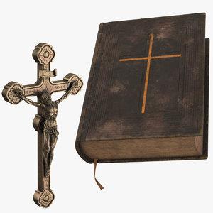 crucifix vintage bible 3d model