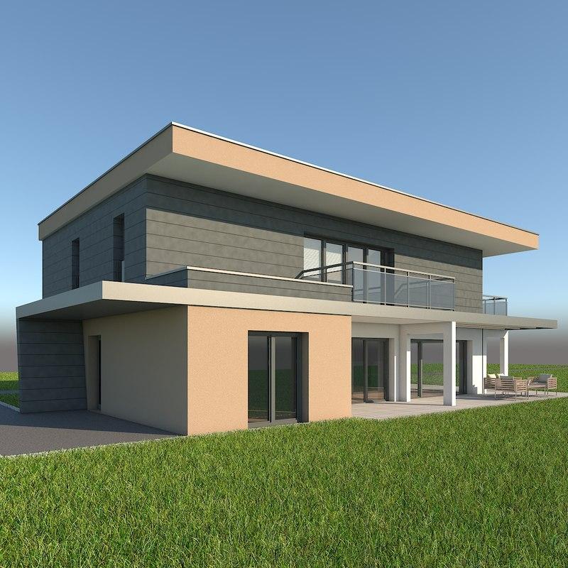 3d modern single family home