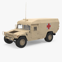 Ambulance Car HMMWV m996 Desert 3D Model