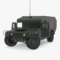 Ambulance Military Car HMMWV m996 Rigged