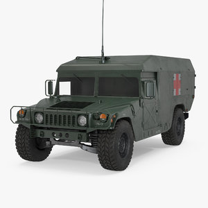 ambulance military car hmmwv 3d model