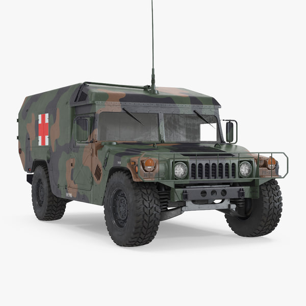 mini ambulance military car 3d model