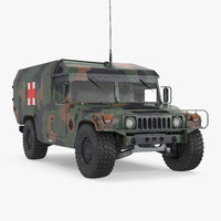 Mini Ambulance Military Car HMMWV m996 Camo 3D Model