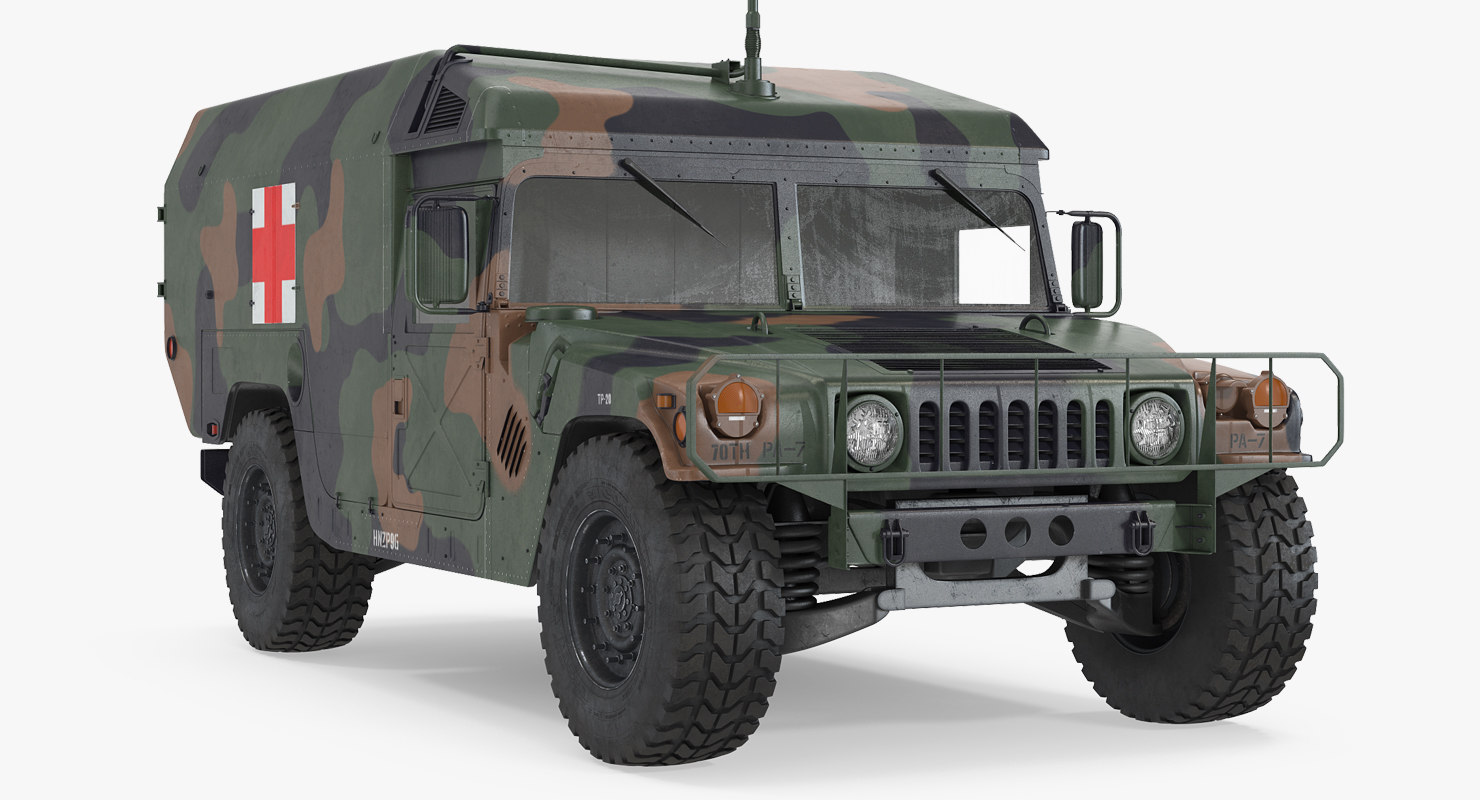 mini ambulance military car 3d model