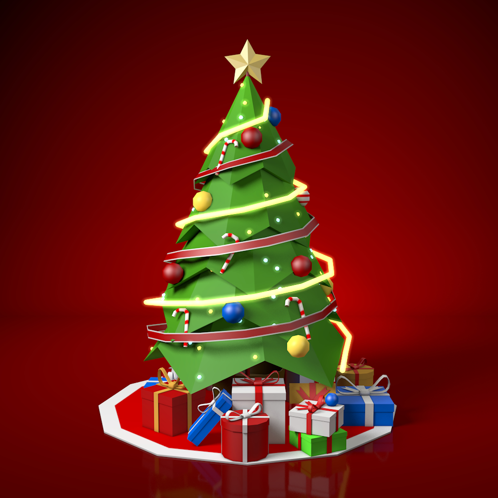 3d Christmas Tree.Low Poly Christmas Tree