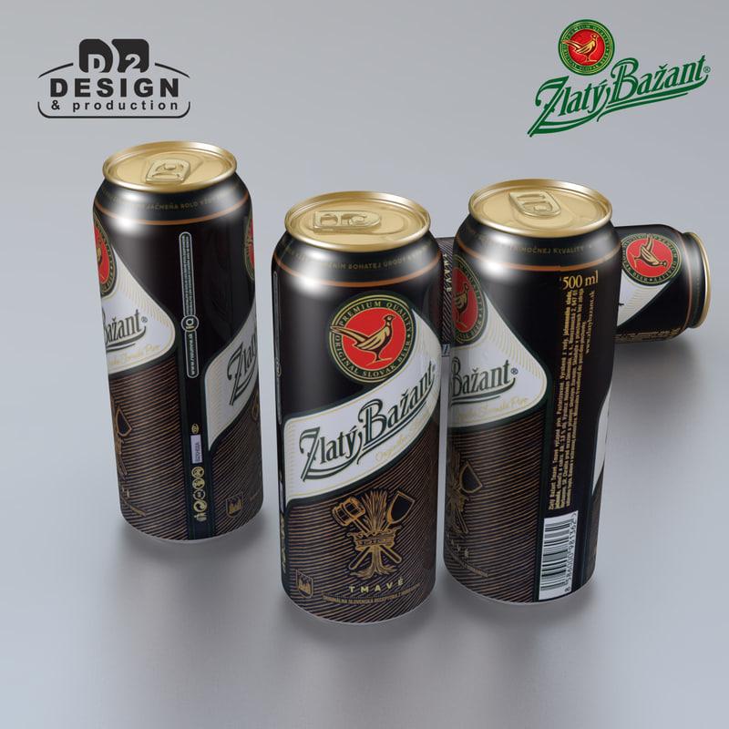 3d beer zlaty bazant tmave model
