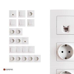 power socket wall 3d model