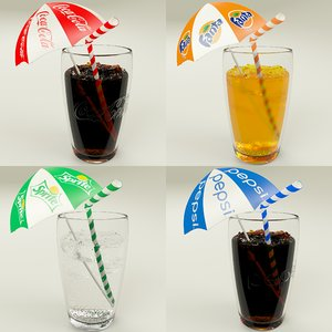 3d carbonated drinks glasses model