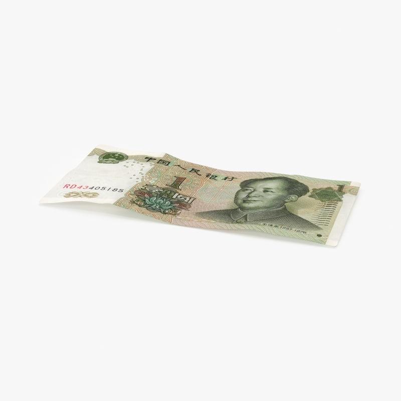 3d model 1 yuan note single