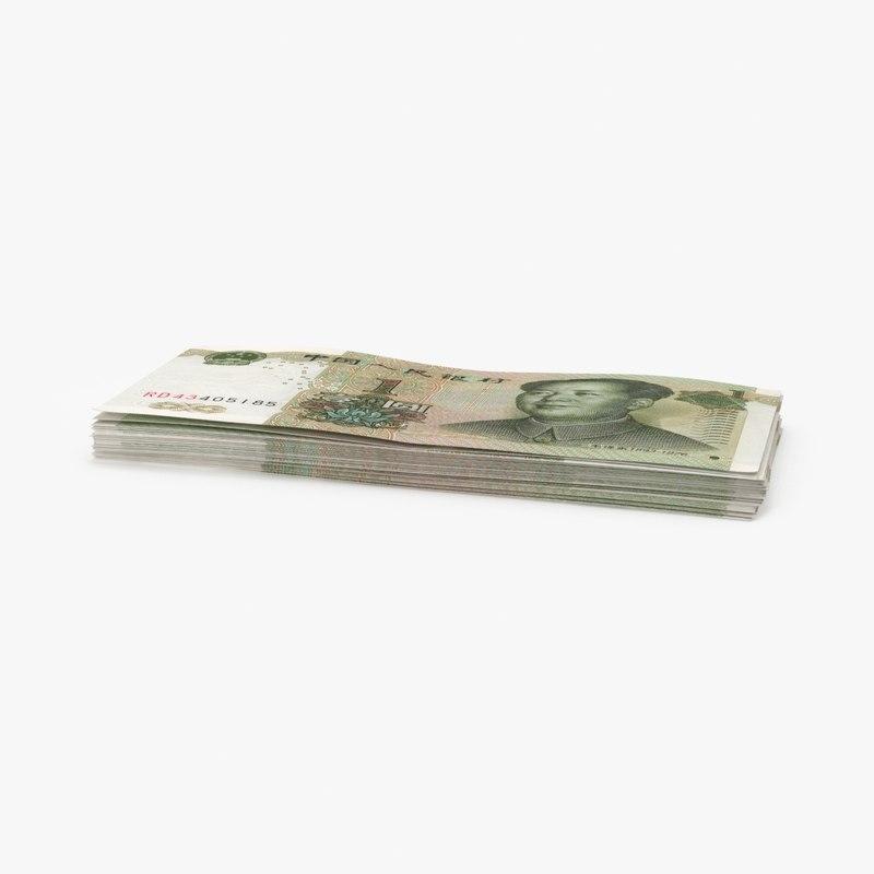 3d model 1 yuan note stack