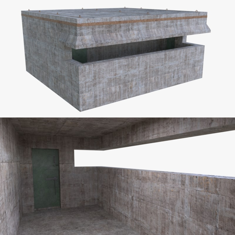 3d bunker blender post model