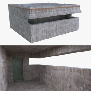 3d bunker blender post model