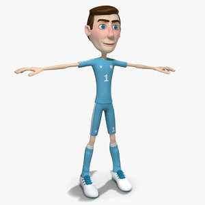 3d model cartoon soccer player man