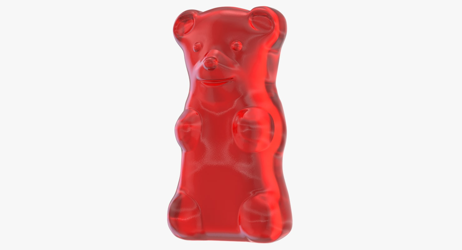 3d red gummy bear model