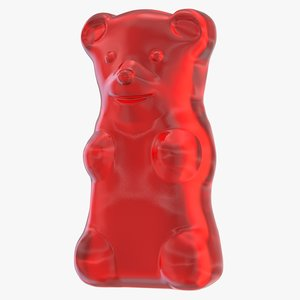 3d red gummy bear model