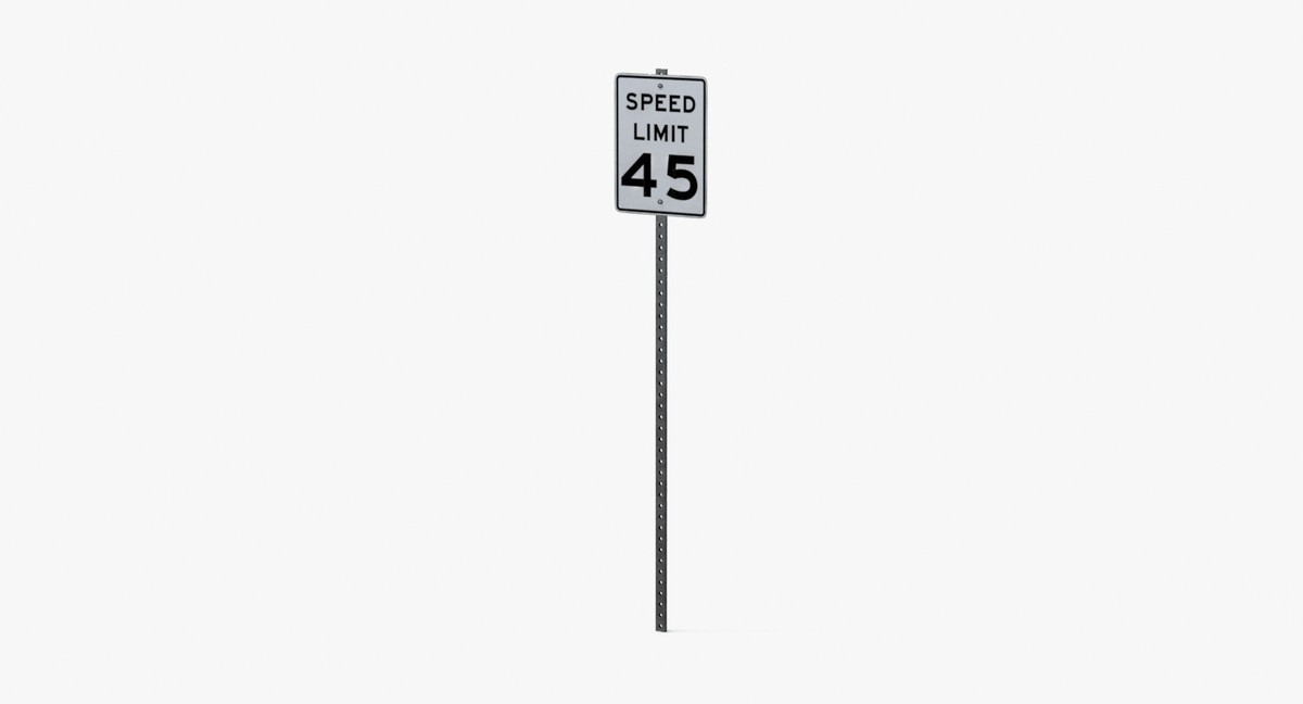 speed limit sign 45 3d model