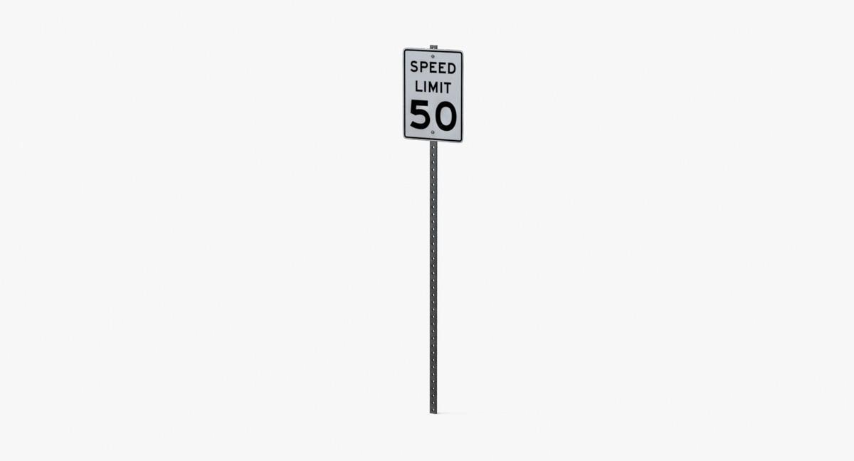 speed limit sign 50 3d model