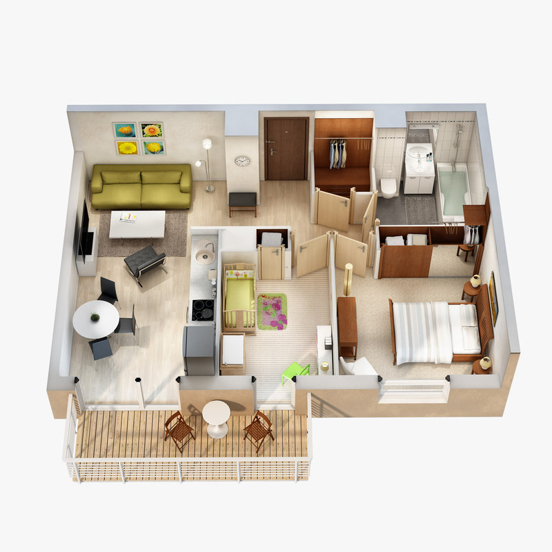 3d model lighting floor plan scene