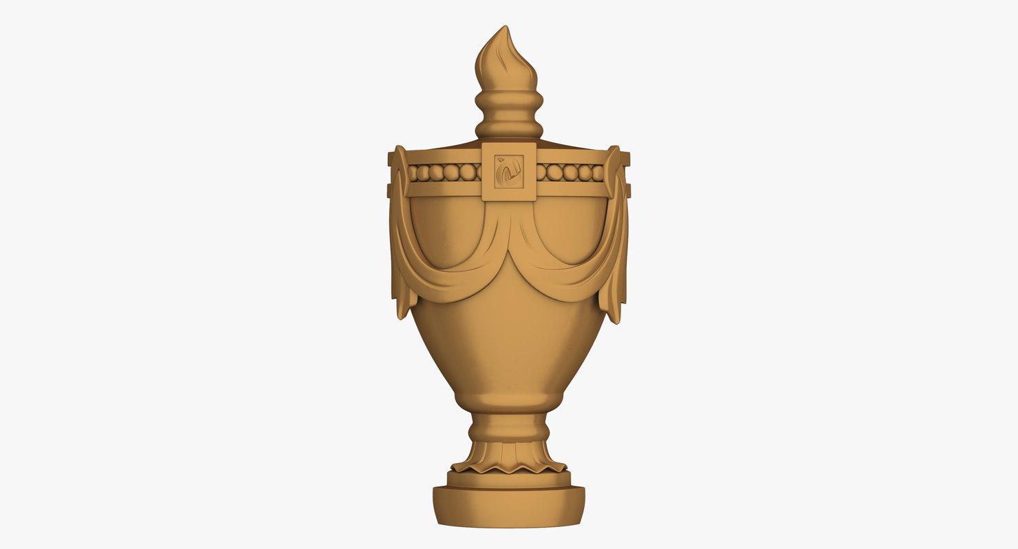 3d model rockford urn carving onlay
