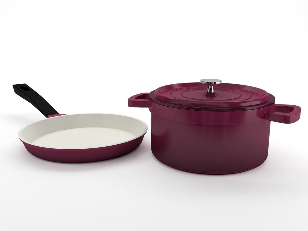 3d cookware set model