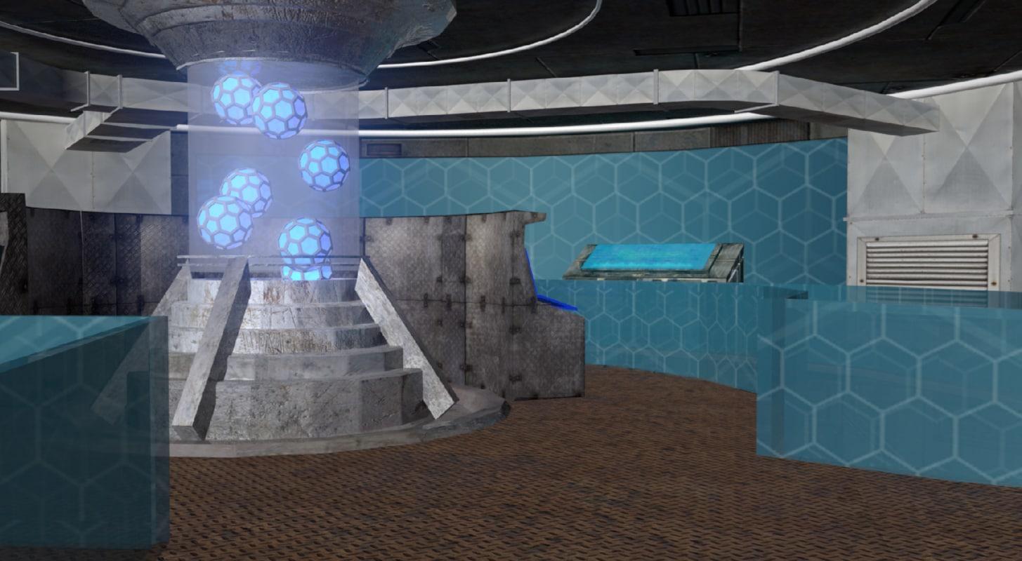 3d spaceship computer lab model